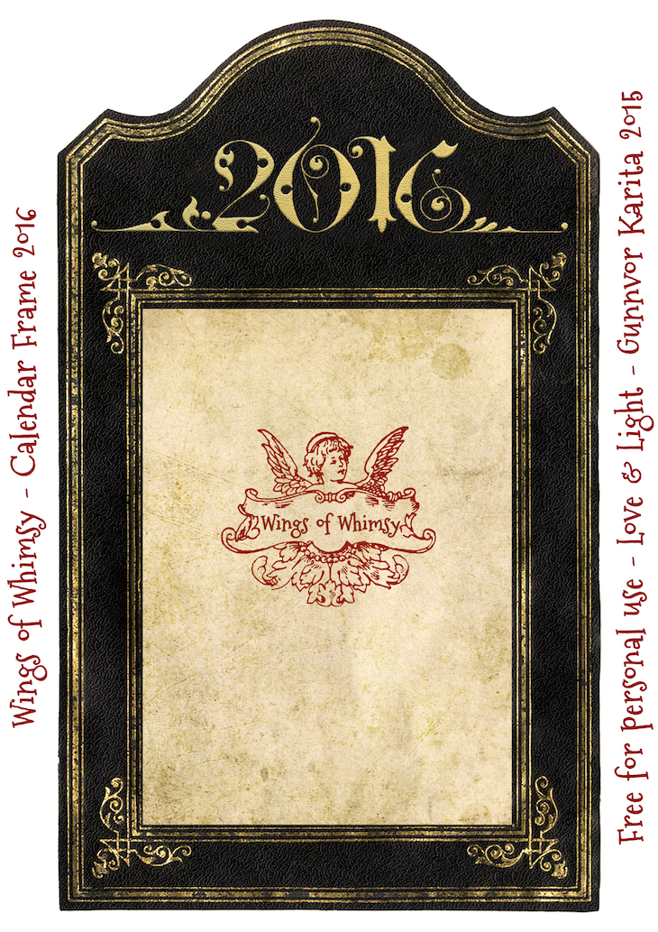 Wings of Whimsy: Calendar Frame 2016 #vintage #ephemera #freebie #printable #calendar