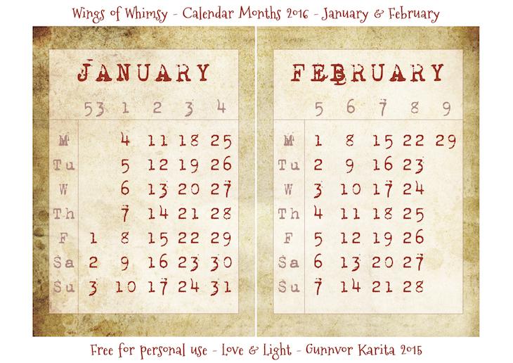 Wings of Whimsy: Calendar January-February 2016 #vintage #ephemera #freebie #printable #calendar