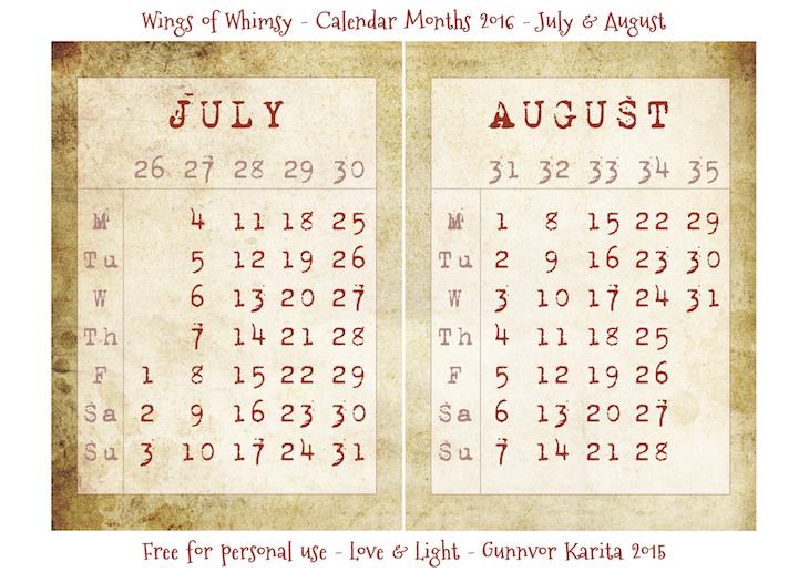 Wings of Whimsy: Calendar July-August 2016 #vintage #ephemera #freebie #printable #calendar