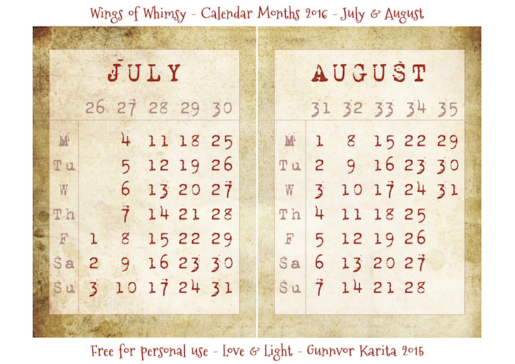 Wings of Whimsy: Calendar July-August 2016 #vintage #ephemera #freebie #printable #calendar