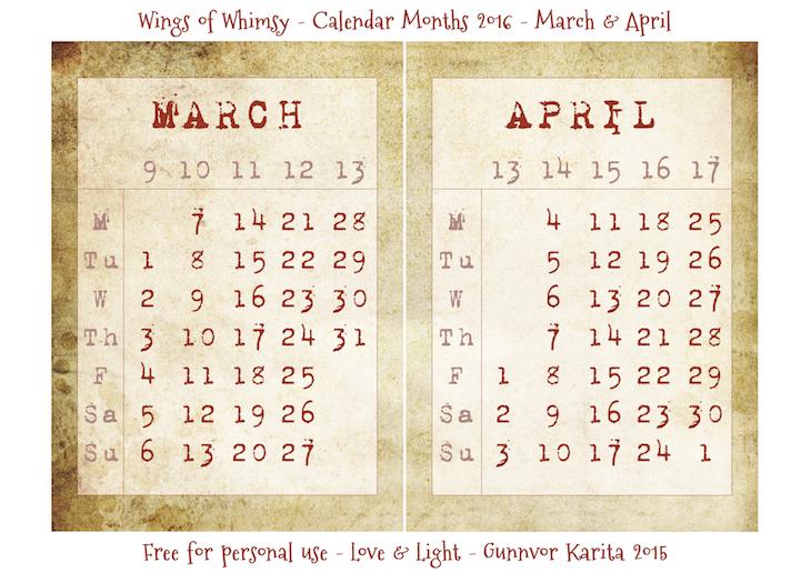 Wings of Whimsy: Calendar March-April 2016 #vintage #ephemera #freebie #printable #calendar