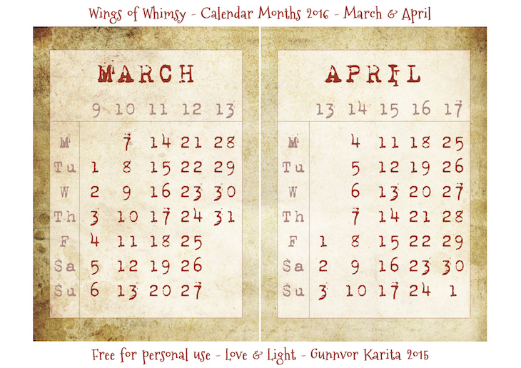 Wings of Whimsy: Calendar March-April 2016 #vintage #ephemera #freebie #printable #calendar