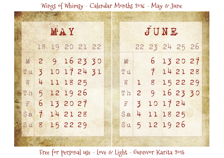 Wings of Whimsy: Calendar May-June 2016 #vintage #ephemera #freebie #printable #calendar