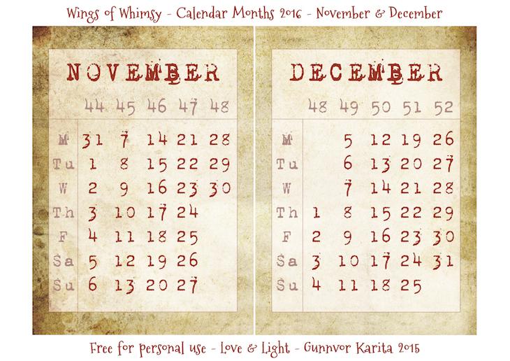 Wings of Whimsy: Calendar November-December 2016 #vintage #ephemera #freebie #printable #calendar