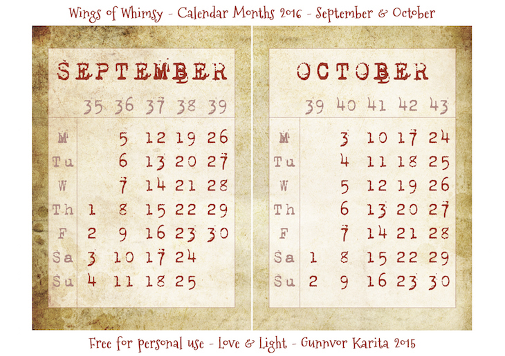Wings of Whimsy: Calendar September-October 2016 #vintage #ephemera #freebie #printable #calendar