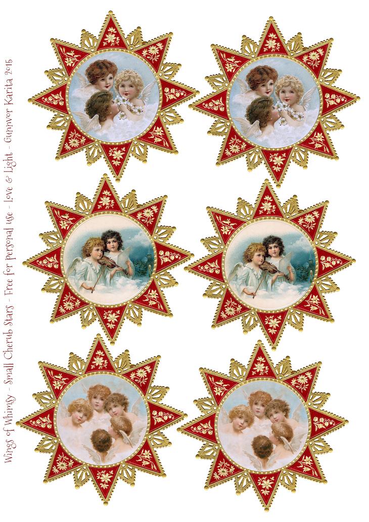 Wings of Whimsy: Christmas Cherub Mobile - Cherub Stars Large #diy #freebie #printable #christmas #cherub #star