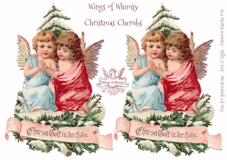 Wings of Whimsy: Christmas Cherub Mobile - German Cherubs #diy #freebie #printable #christmas kopi