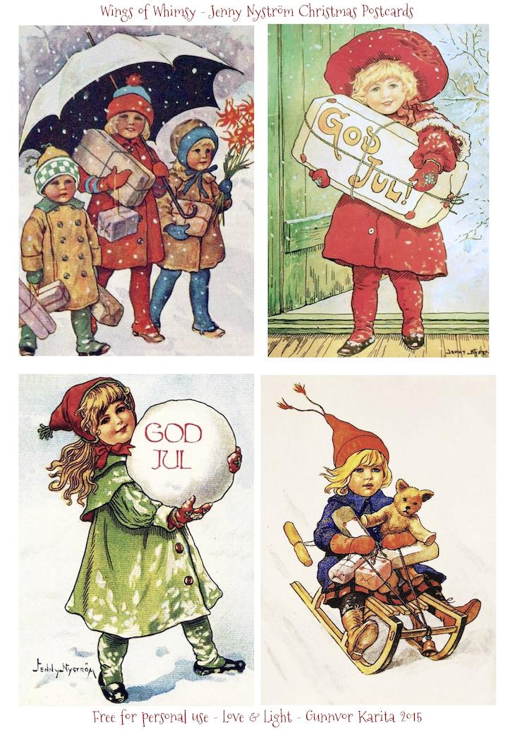 Wings of Whimsy: Jenny Nyström Postcards #vintage #ephemera #freebie #printable #christmas #jennynystrom
