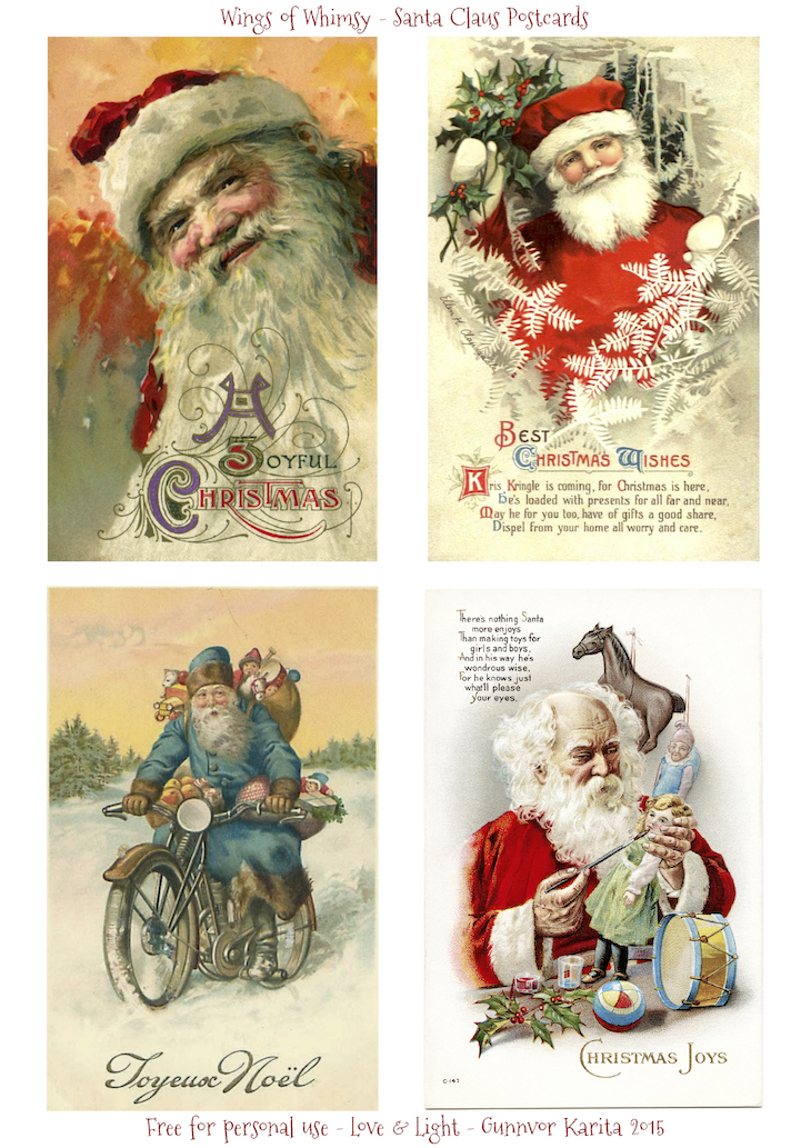 Wings of Whimsy: Santa Claus Postcards #vintage #ephemera #freebie #printable #christmas #santa
