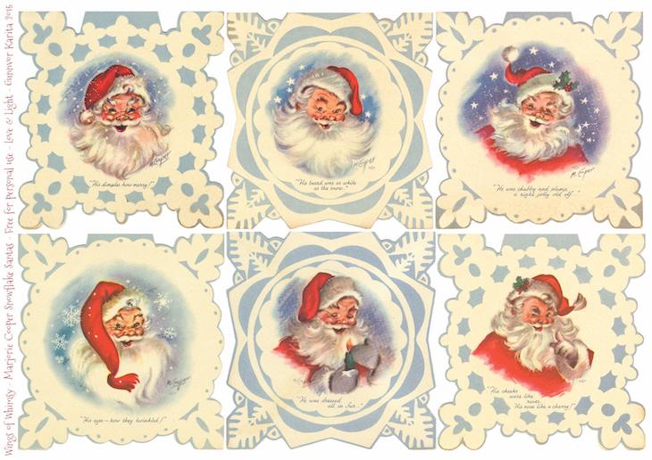 Wings of Whimsy: Christmas Tags Retro Santa #vintage #ephemera #freebie #christmas #santa