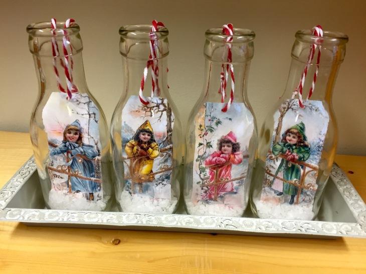 Wings of Whimsy: Tags in Vintage Milk Bottles #diy #christmas