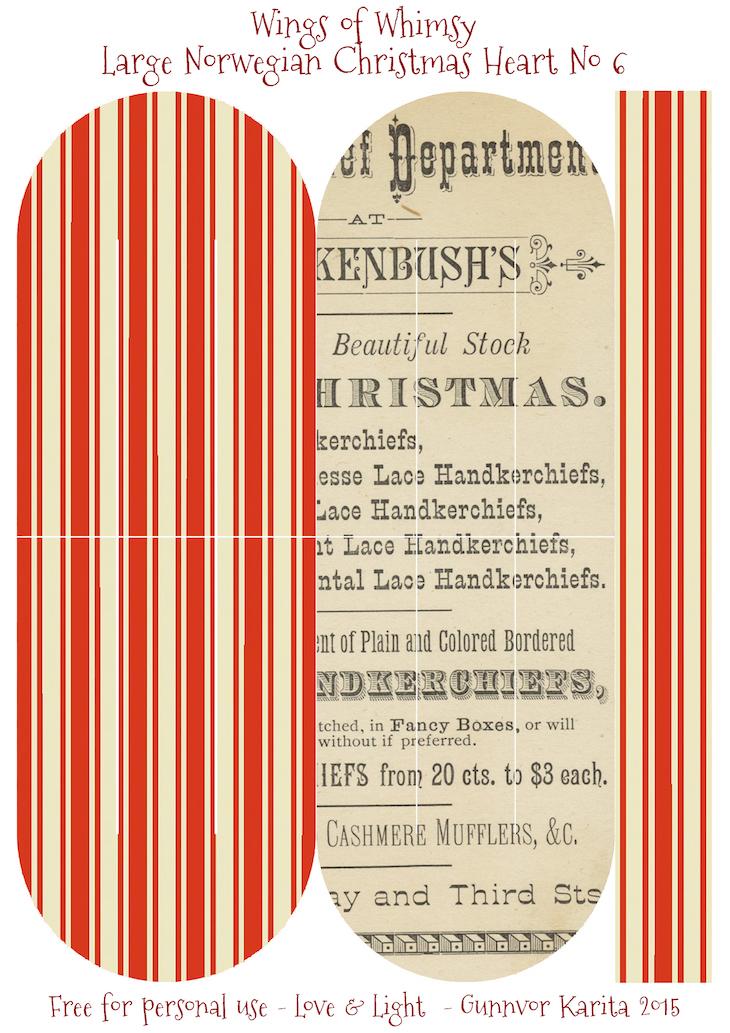 Wings of Whimsy: Large Norwegian Christmas Heart No6 #vintage #ephemera #freebie #printable #christmas #heart