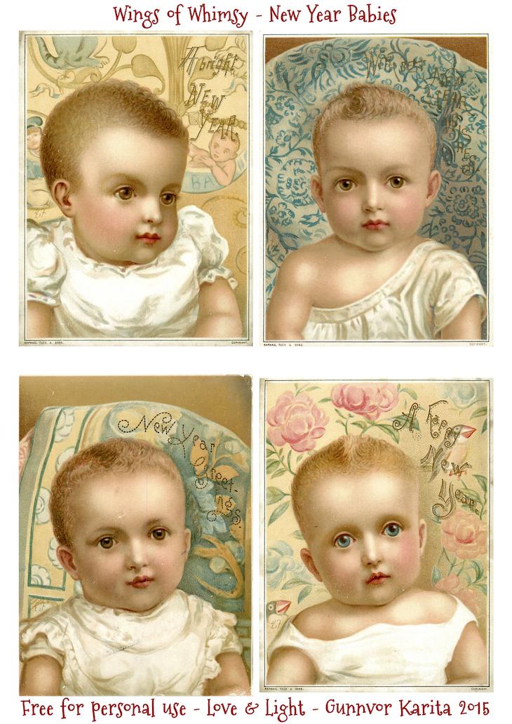 Wings of Whimsy: New Year Babies #vintage #printable #ephemera #freebie #new #year #baby