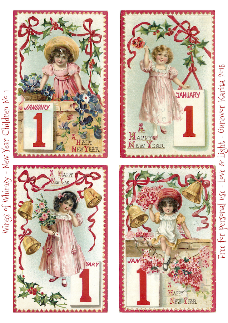 Wings of Whimsy: New Year Children No 1 #vintage #ephemera #freebie #printable #children #new #year