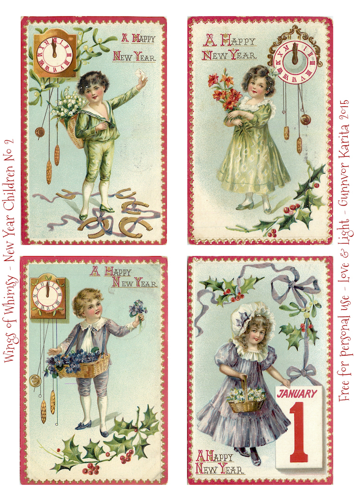 Wings of Whimsy: New Year Children No 2 #vintage #ephemera #freebie #printable #children #new #year