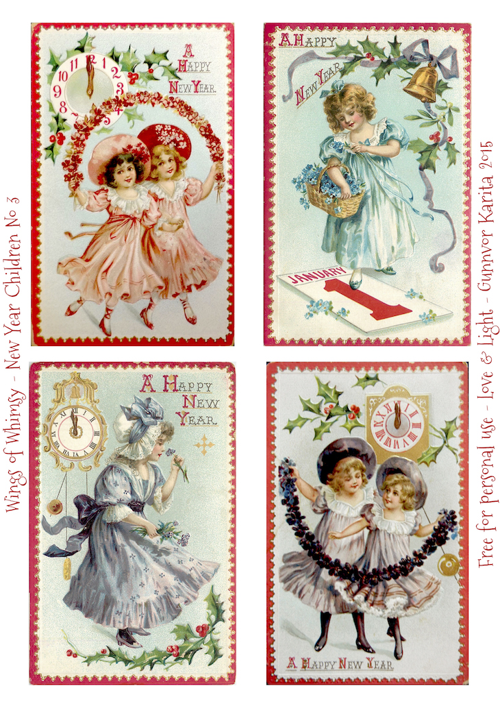 Wings of Whimsy: New Year Children No 3 #vintage #ephemera #freebie #printable #children #new #year