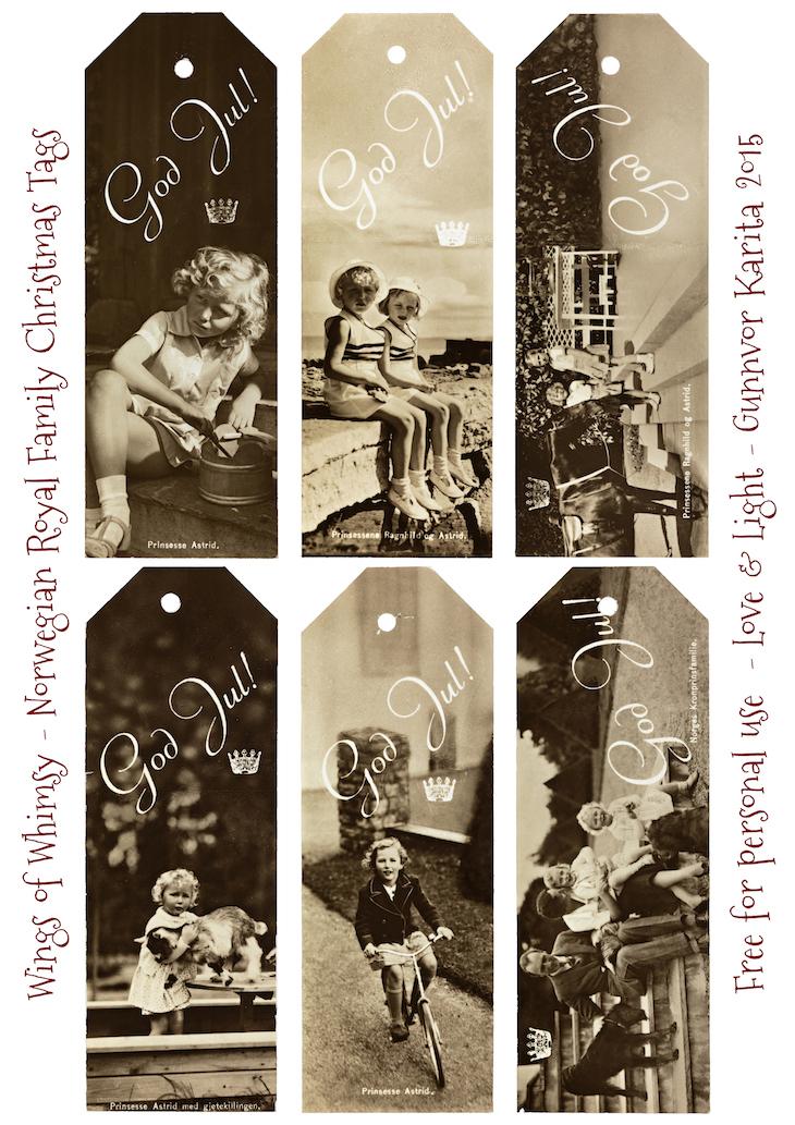 Wings of Whimsy: Norwegian Royal Family Christmas Tags #freebie #vintage #ephemera #printable #royal #christmas #godjul