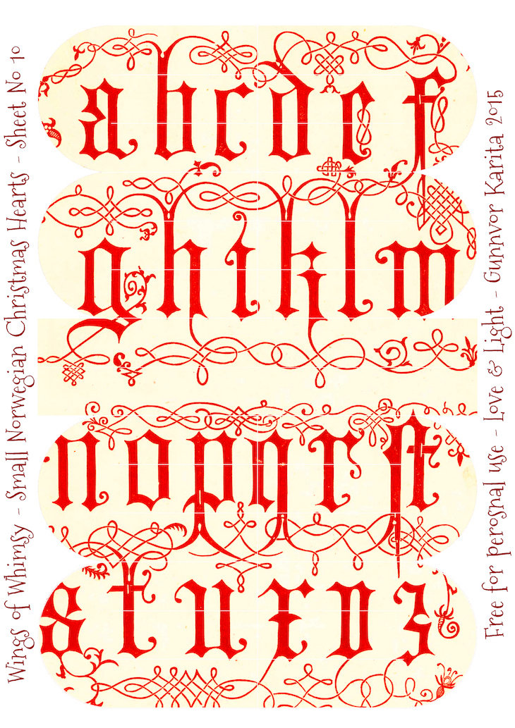 Wings of Whimsy: Small Norwegian Christmas Heart No10 #vintage #ephemera #freebie #printable #christmas #heart