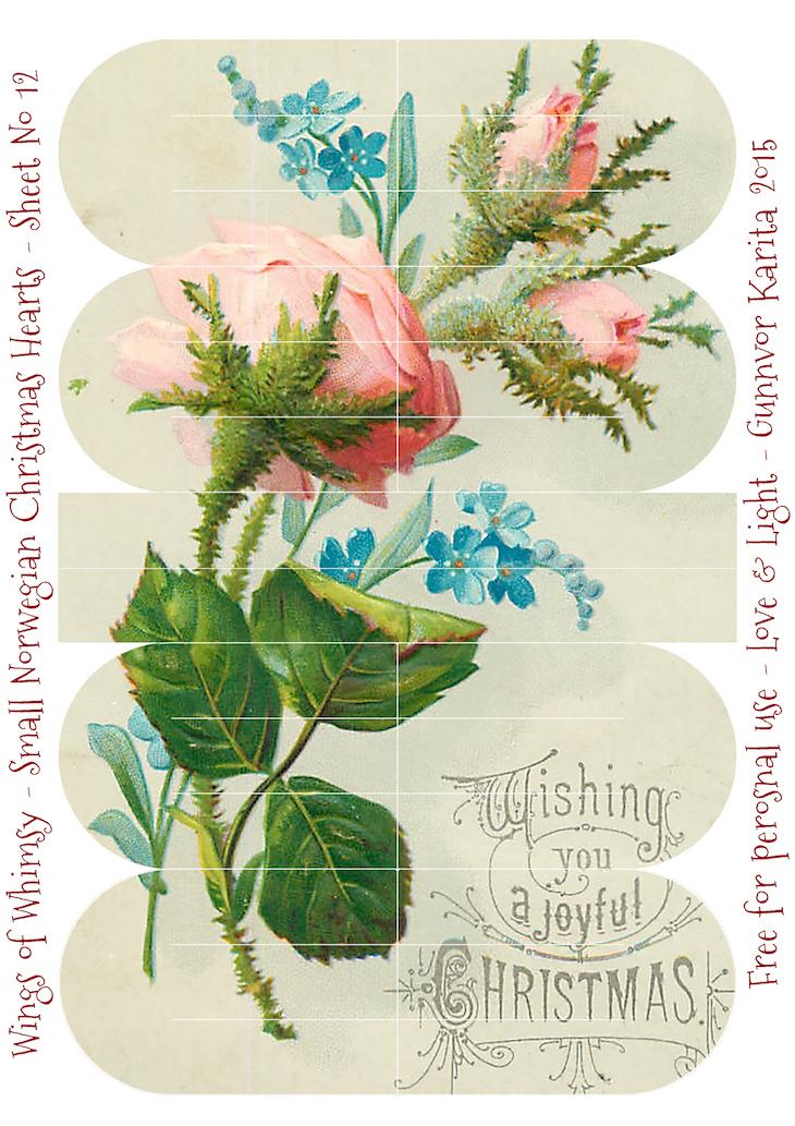 Wings of Whimsy: Small Norwegian Christmas Heart No12 #vintage #ephemera #freebie #printable #christmas #heart