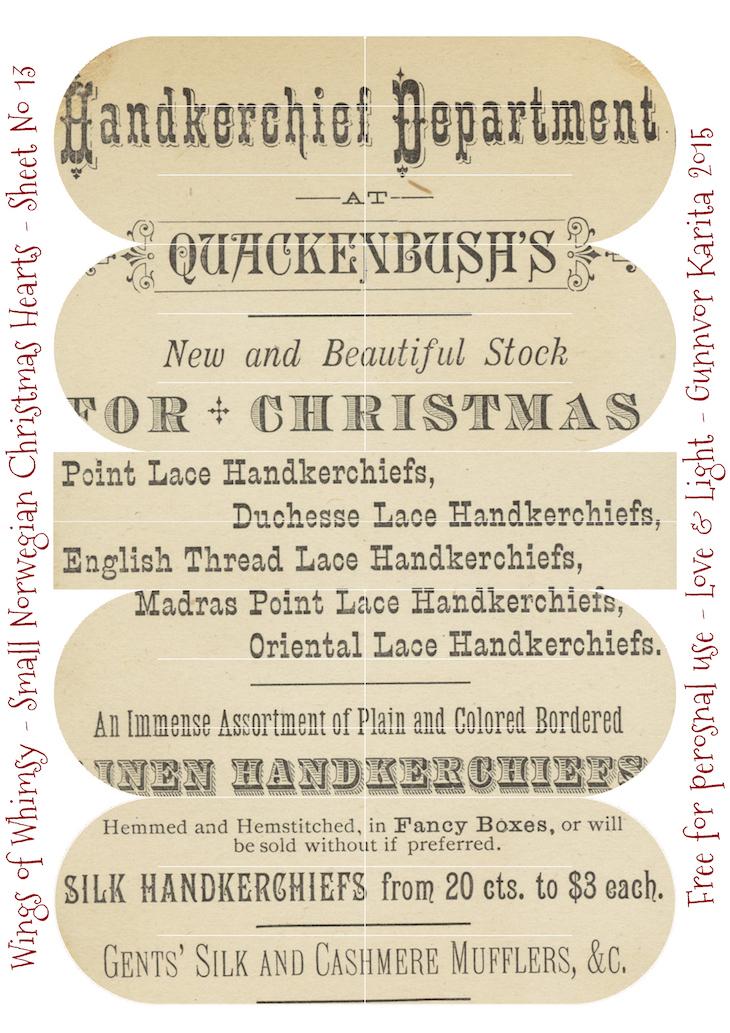 Wings of Whimsy: Small Norwegian Christmas Heart No13 #vintage #ephemera #freebie #printable #christmas #heart