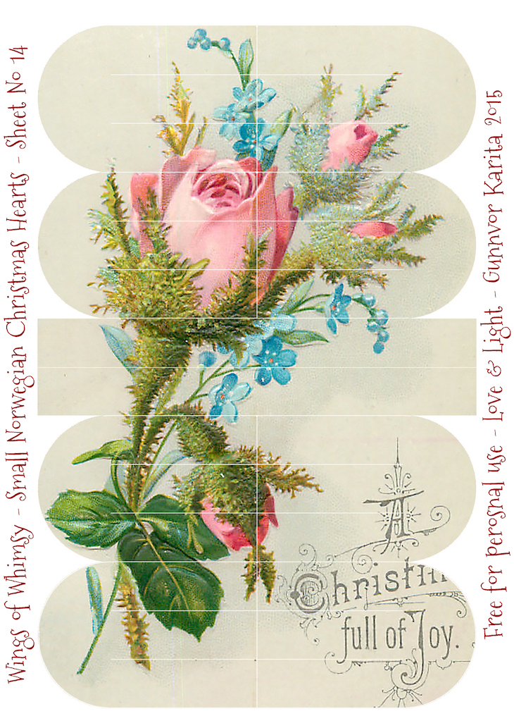Wings of Whimsy: Small Norwegian Christmas Heart No14 #vintage #ephemera #freebie #printable #christmas #heart