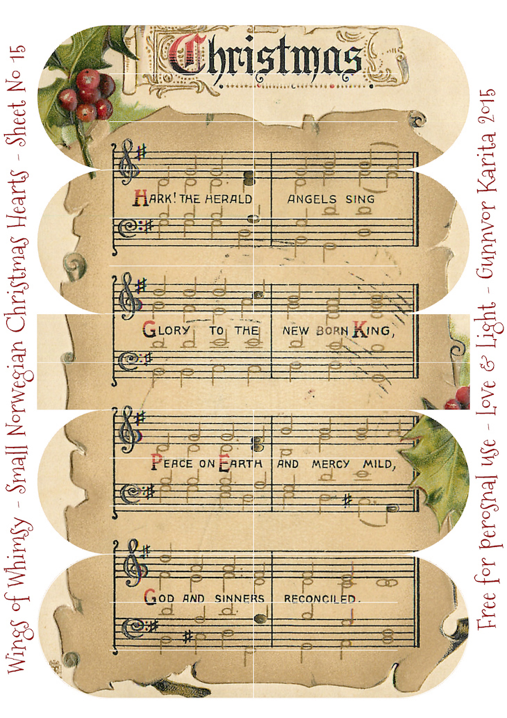 Wings of Whimsy: Small Norwegian Christmas Heart No15 #vintage #ephemera #freebie #printable #christmas #heart