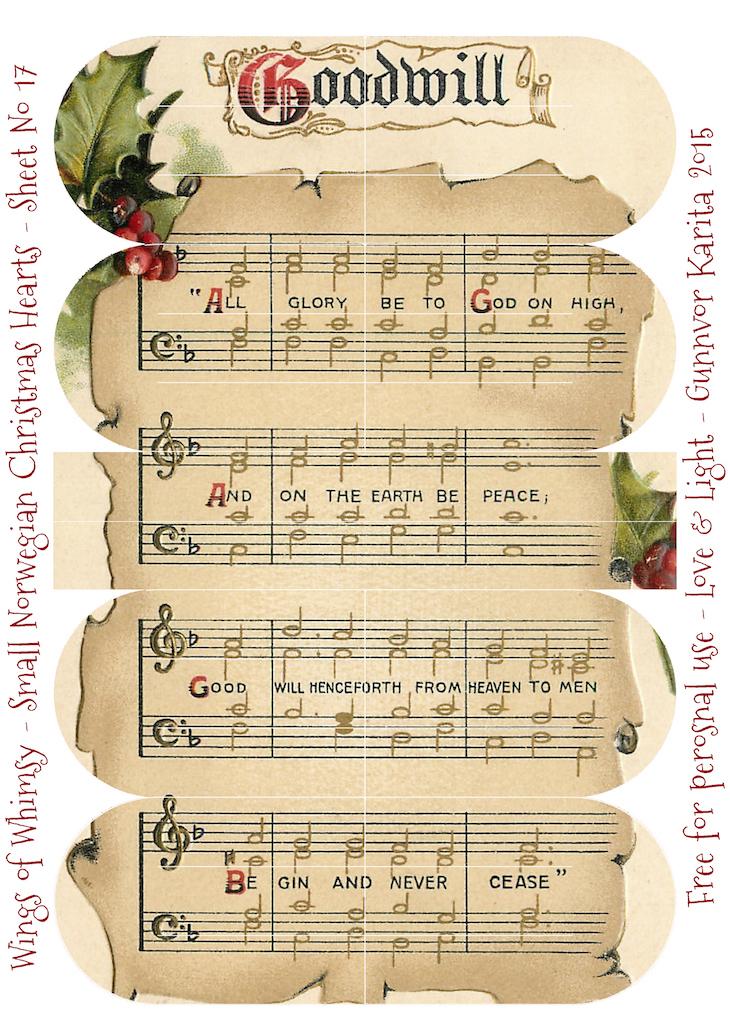 Wings of Whimsy: Small Norwegian Christmas Heart No17 #vintage #ephemera #freebie #printable #christmas #heart