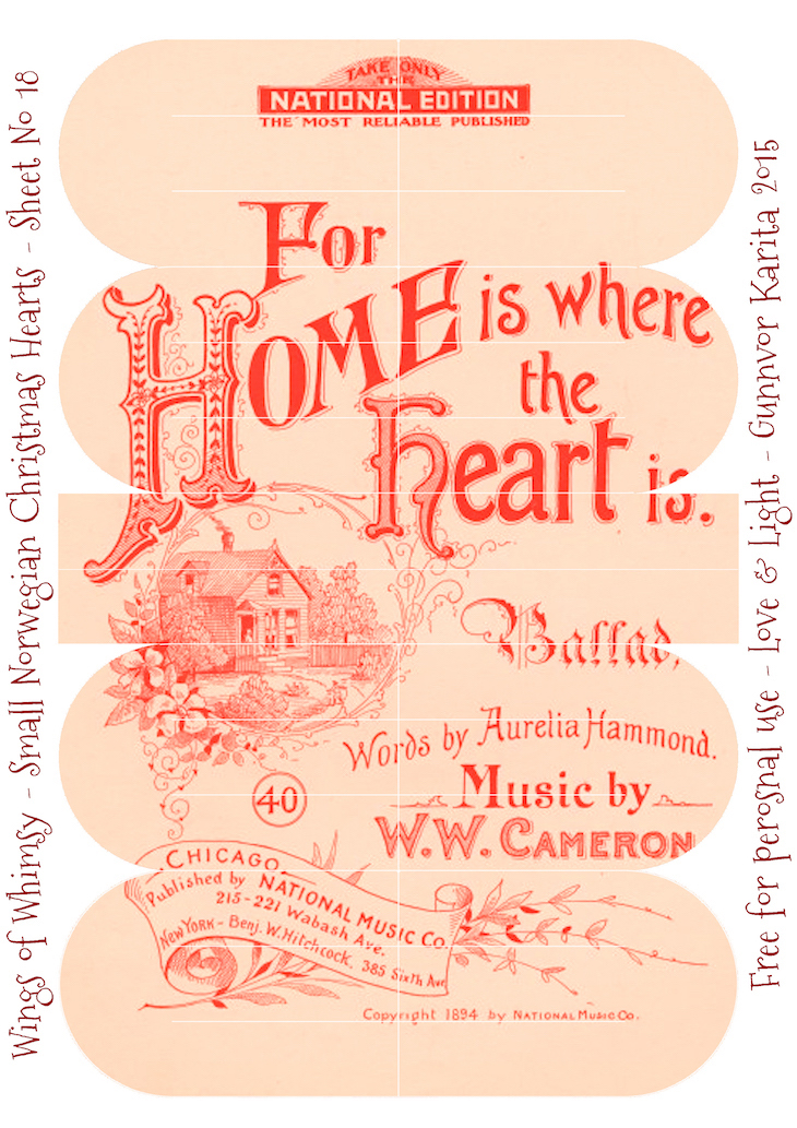 Wings of Whimsy: Small Norwegian Christmas Heart No18 #vintage #ephemera #freebie #printable #christmas #heart
