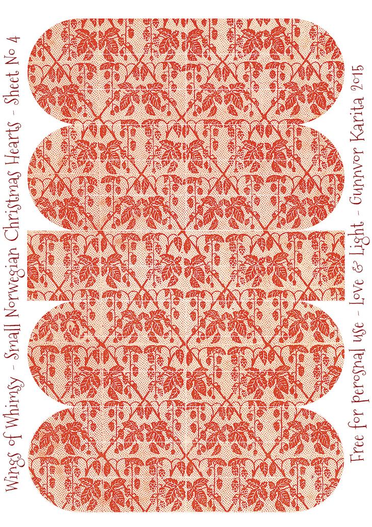 Wings of Whimsy: Small Norwegian Christmas Heart No4 #vintage #ephemera #freebie #printable #christmas #heart