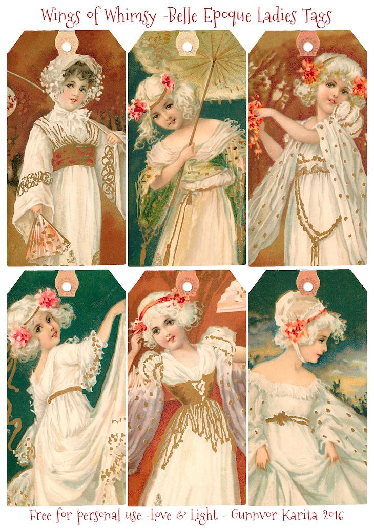 Wings of Whimsy; Belle Epoque Ladies Tags #vintage #ephemera #freebie #printable #belle #epoque #ladies #tags