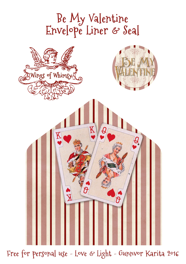 Wings of Whimsy: Playing Catds Envelope Liner & Seal #freebie #vintage #valentine #printable #stripes #envelope #liner #cherub