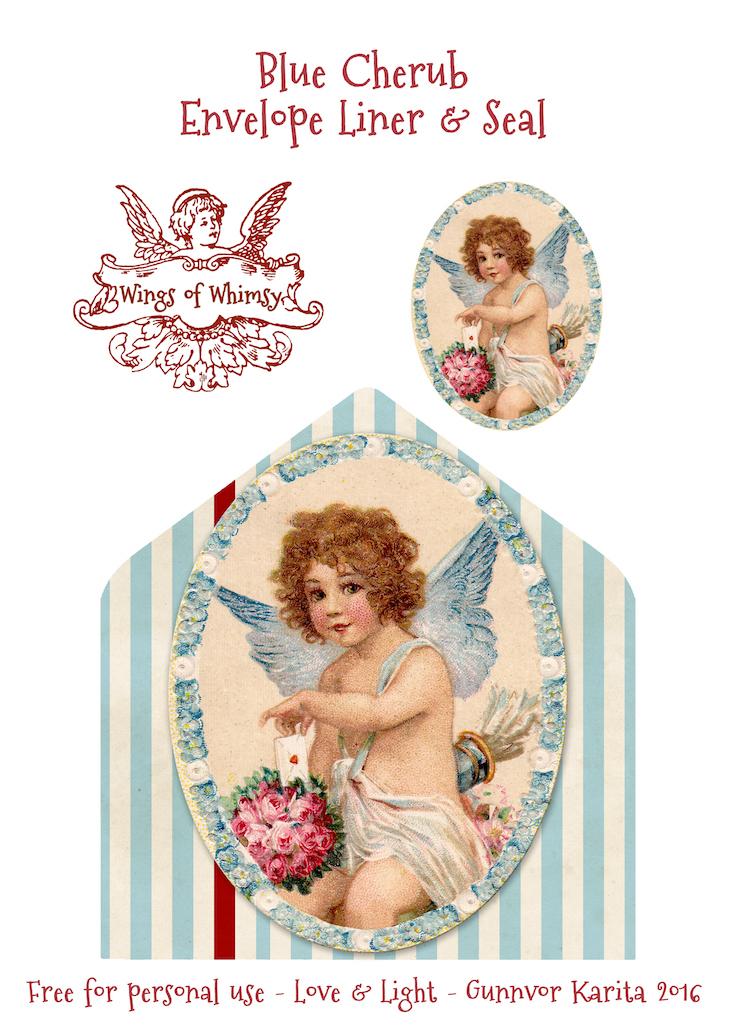 Wings of Whimsy: Blue Cherub Envelope Liner & Seal #freebie #vintage #valentine #printable #stripes #envelope #liner #cherub