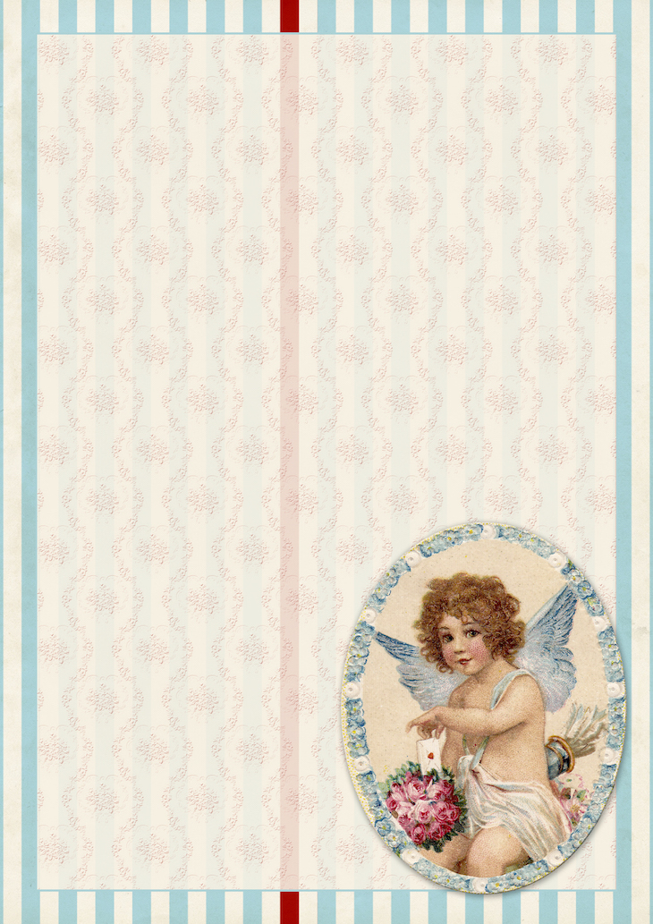 Wings of Whimsy: Blue Cherub Paper #freebie #vintage #valentine #printable #stripes #paper #cherub