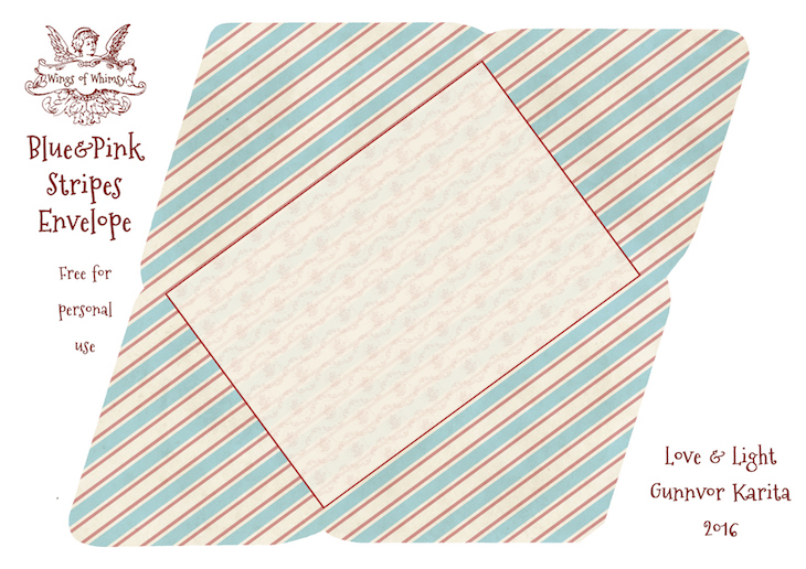 Wings of Whimsy: Blue & Pink Stripes Envelope #freebie #vintage #valentine #printable #stripes #envelope