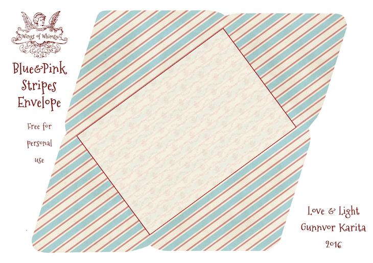Wings of Whimsy: Blue & Pink Stripes Envelope #freebie #vintage #valentine #printable #stripes #envelope