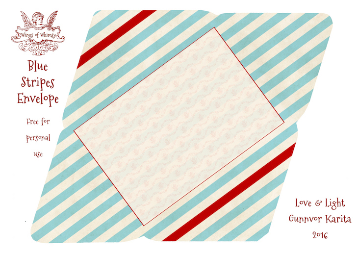 Wings of Whimsy: Blue Stripes Envelope #freebie #vintage #valentine #printable #stripes #envelope