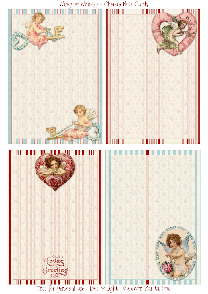 Valentine Stationery Part XIII Wings of Whimsy – Valentine Note Cards