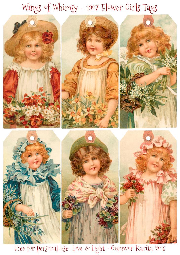 Wings of Whimsy: Flower Girls 1907 #vintage #ephemera #freebie #printable #girls, #tags