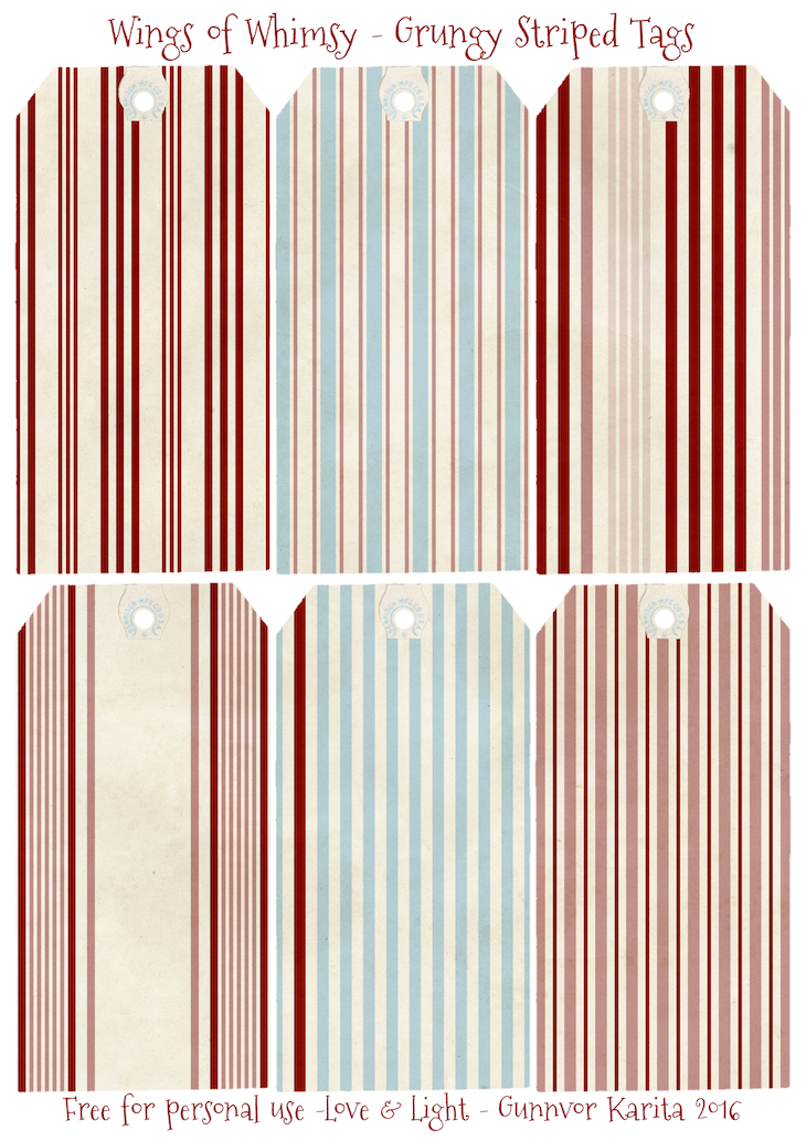 Wings of Whimsy: Grungy Striped Tags #freebie #vintage #valentine #printable #stripes #note #card