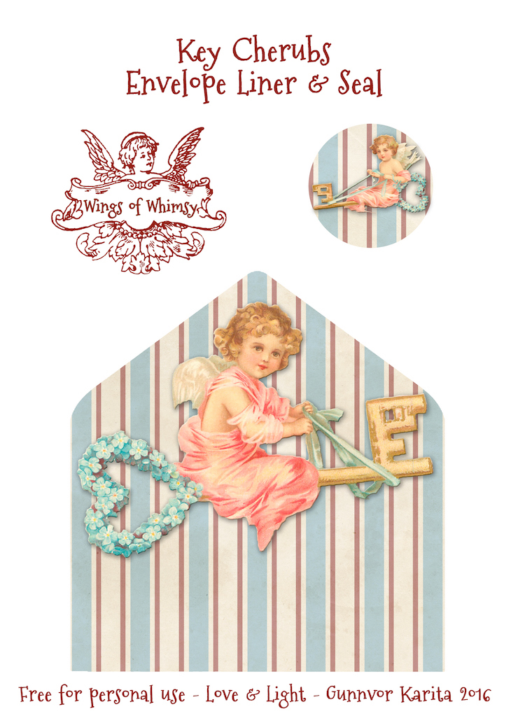 Wings of Whimsy: Key Cherubs Envelope Liner & Seal #freebie #vintage #valentine #printable #stripes #envelope #liner #cherub