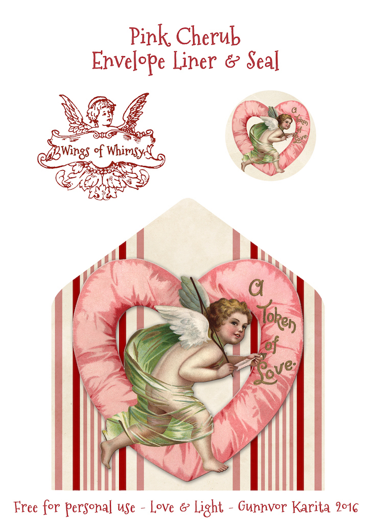 Wings of Whimsy: Pink Cherub Envelope Liner #freebie #vintage #valentine #printable #stripes #envelope #liner