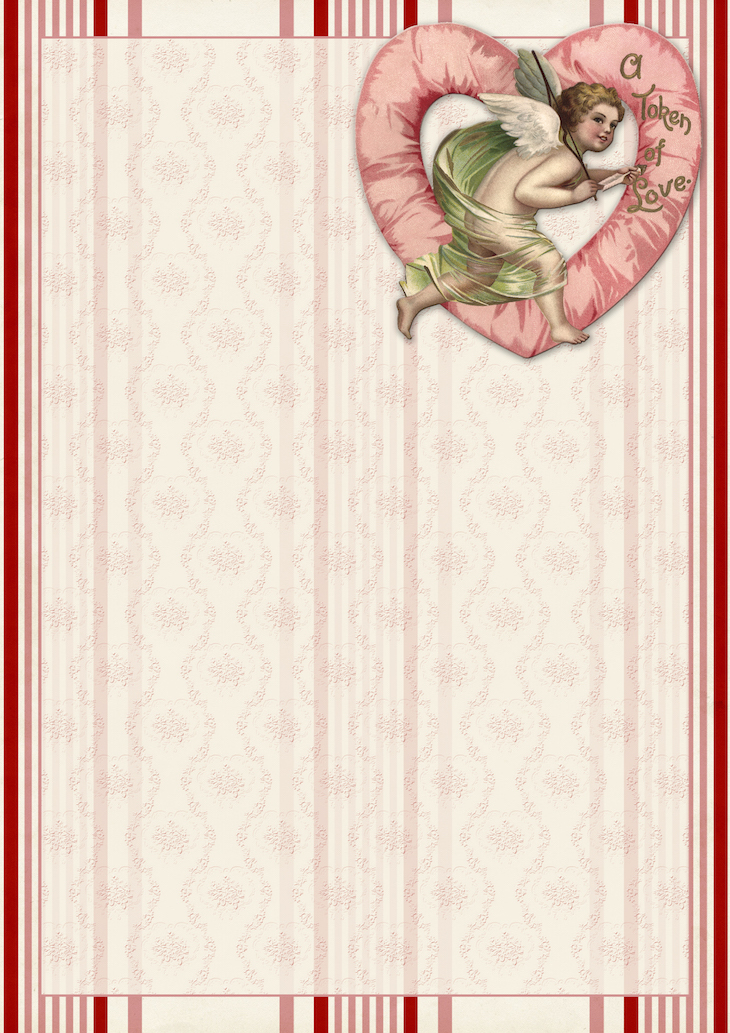 Wings of Whimsy: Pink Cherub Paper #freebie #vintage #valentine #printable #stripes #paper #cherub