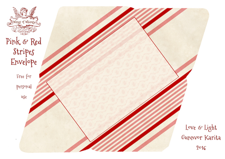 Wings of Whimsy: Pink & Red Stripes Envelope #freebie #vintage #valentine #printable #stripes #envelope
