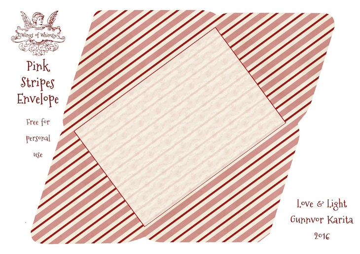Wings of Whimsy: Pink Stripes Envelope #freebie #vintage #valentine #printable #stripes #envelope