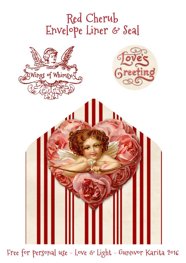 Wings of Whimsy: Red Cherub Envelope Liner #freebie #vintage #valentine #printable #stripes #envelope #liner
