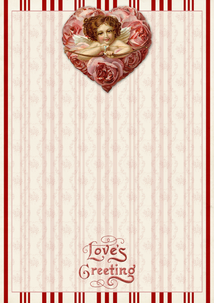 Wings of Whimsy: Red Cherub Paper #freebie #vintage #valentine #printable #stripes #paper #cherub