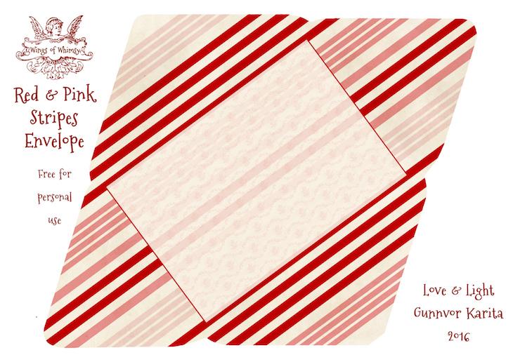 Wings of Whimsy: Red & Pink Stripes Envelope #freebie #vintage #valentine #printable #stripes #envelope