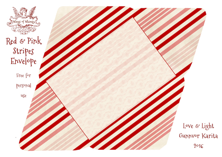 Wings of Whimsy: Red & Pink Stripes Envelope #freebie #vintage #valentine #printable #stripes #envelope