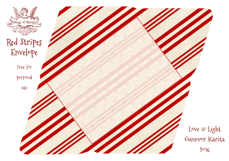 Wings of Whimsy: Red Stripes Envelope #freebie #vintage #valentine #printable #stripes #envelope