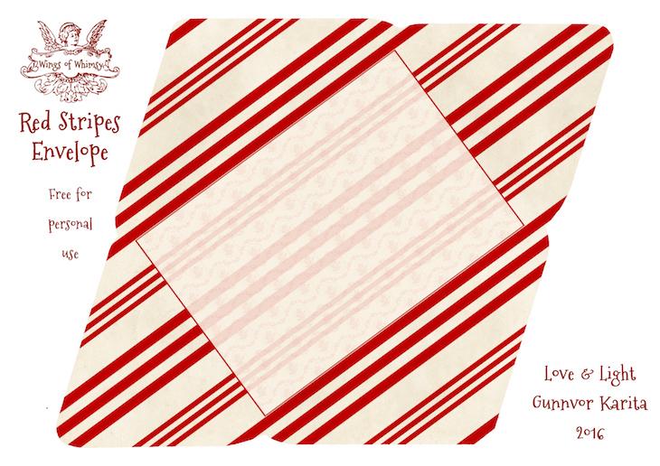 Wings of Whimsy: Red Stripes Envelope #freebie #vintage #valentine #printable #stripes #envelope